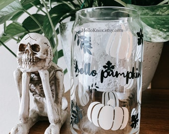 Halloween coffee cup   Hello pumpkin mug   fall leaf tumbler   soda can cup  custom cup  beer cup