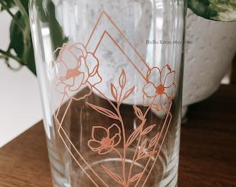 Flower coffee cup   Flower mug   geometric cup  soda can cup  custom cup  beer cup