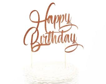 Happy Birthday Cake Toppers, Happy Birthday Toothpicks, Rose Gold Glitter Cake, Rose Gold Birthday Cake Topper, Birthday Cake Topper
