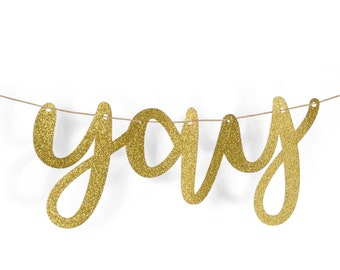 "Gold ""Yay"" Glitter Script Banner, Birthday Party, Bridal Shower, Wedding, Baby Shower,Graduation,Celebrate,Word Banner,Custom Banner,Sparkle"