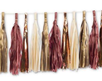 Merlot Tassels, Tissue Tassels, Tassel Banner, Birthday Party Decor, DIY Tassels, Baby Shower Girl Wedding Decor Bachelorette