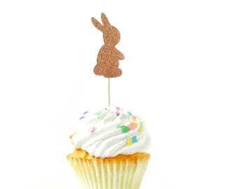 Bunny Rose Gold Glitter Cupcake Toppers, Rose Gold Rabbit Toothpicks, Rose Gold Party Decor Food Decoration Easter Woodsy Baby Shower Rabbit