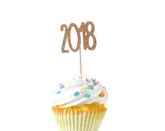 2018 Rose Gold Glitter Cupcake Toppers, Rose Gold 2018 Toothpicks, Rose Gold Party Decor, Food Decoration, Graduation Party, Grad, New Years