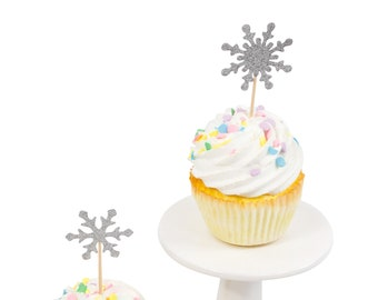 Snowflake Silver Glitter Cupcake Toppers, Silver Snowflake Toothpicks, Silver Party Decor, Food Decoration, Winter Decor, Christmas Decor