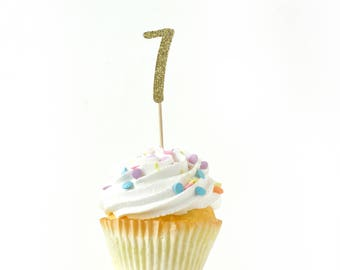 Number 7 Gold Glitter Cupcake Toppers, Number 7 Toothpicks, Gold Party Decor, Food Decoration, Seventh Birthday, 7th Birthday, Seven Decor