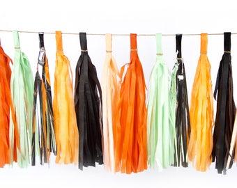 Candied Potions Tassels, Tissue Tassels, Tassel Banner, Birthday Party Decor, DIY Tassels, Haunted Spooky Decor, Orange, Black, Halloween