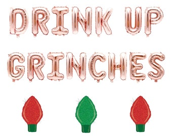 Golden Drink Up Grinches Letter Christmas Hat Party Banner Hanging Decor