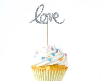 Love Script Silver Glitter Cupcake Toppers, Silver Love Toothpicks, Silver Party Decor, Food Decoration, Valentines Day, Wedding Decor