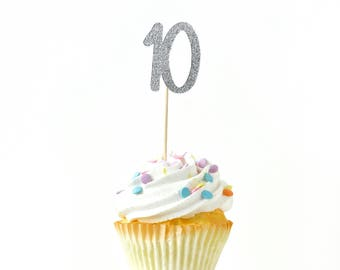 Number 10 Silver Glitter Cupcake Toppers, Number 10 Toothpicks, Silver Party Decor, Food Decoration, Tenth Birthday, 10th Birthday Ten Decor