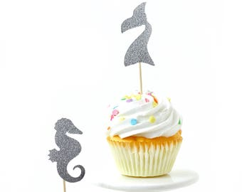 Mermaid Silver Glitter Cupcake Toppers, Silver Seahorse Toothpicks, Silver Party Decor, Food Decoration, Ocean Party Nautical Birthday Beach