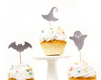 Halloween Variety Silver Glitter Cupcake Toppers, Silver Ghost Toothpicks, Silver Party Decor, Food Decoration, Witch Hat, Bat, Fall Decor