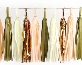 Champagne Kisses Tassels, Tissue Tassels, Tassel Banner, Birthday Party Decor, DIY Tassels, Girl Birthday, Wedding, Baby Shower Rose Gold