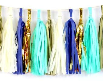 Coastal Cruiser Tassel, Tissue Tassels, Tassel Banner, Birthday Party Decor , DIY Tassels, Boy Birthday, Wedding, Nautical, Beach Ocean