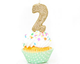 3 Number 2 Candle Giant Gold Party Decor Two Birthday 2nd CandleGiant Glitter CandleCake Topper