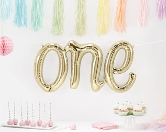 "SHIPS FREE** Giant ""One"" Balloon - White Gold Champagne Script First Birthday Balloon, Letter First Birthday Photo Prop for Baby Smash Cake"