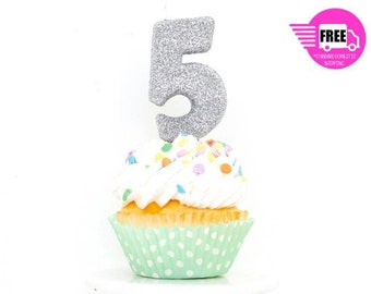 3 Number 5 Candle Giant Silver Birthday Party Decor Glitter