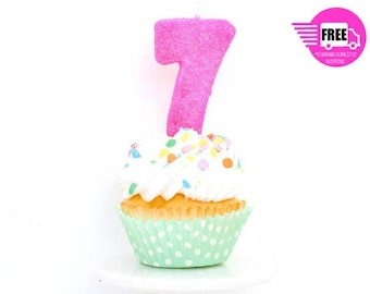 3 Number 7 Candle Giant Hot Pink Birthday Glitter Party Decor Cake Topper
