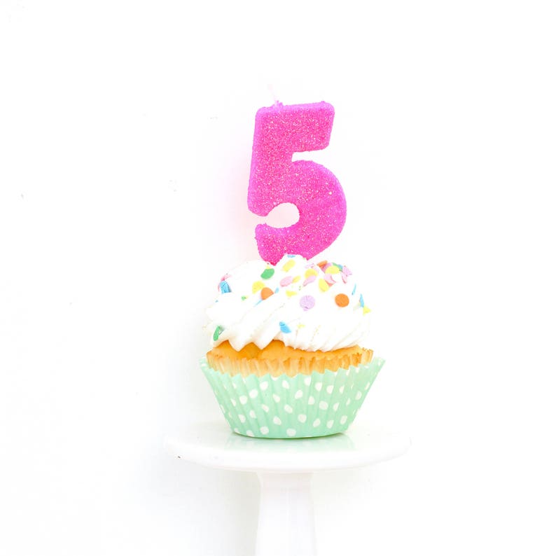 SHIPS FREE 3 Number 5 Candle Hot Pink Five Cake
