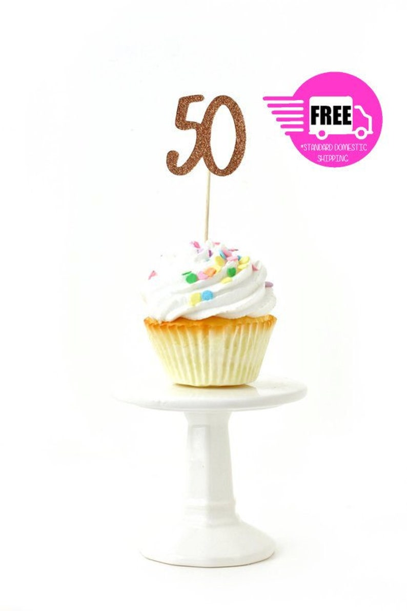 SHIPS FREE Number 50 Toothpick Toppers Rose Gold