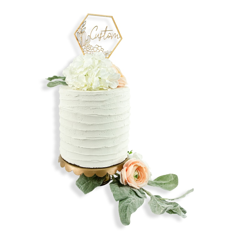 Raw Wood Wedding Cake Topper-Geometric Custom Wedding Topper Custom You Choose Words Script Cactus  Succulent Wreath Frame Wood Cake Topper