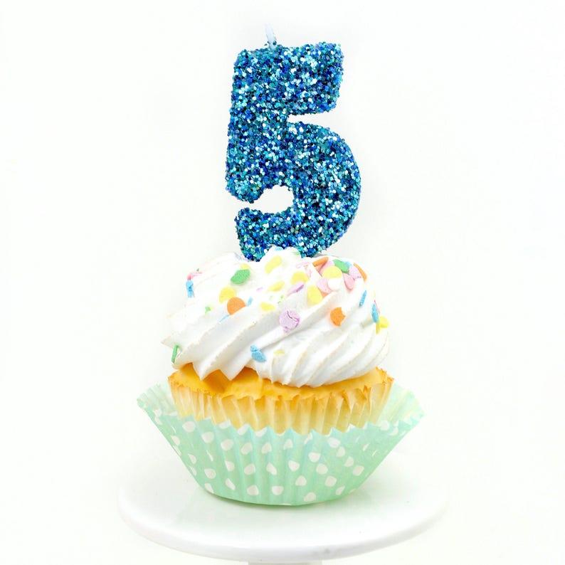 3 Number 5 Candle Blue Coastal Sparkle