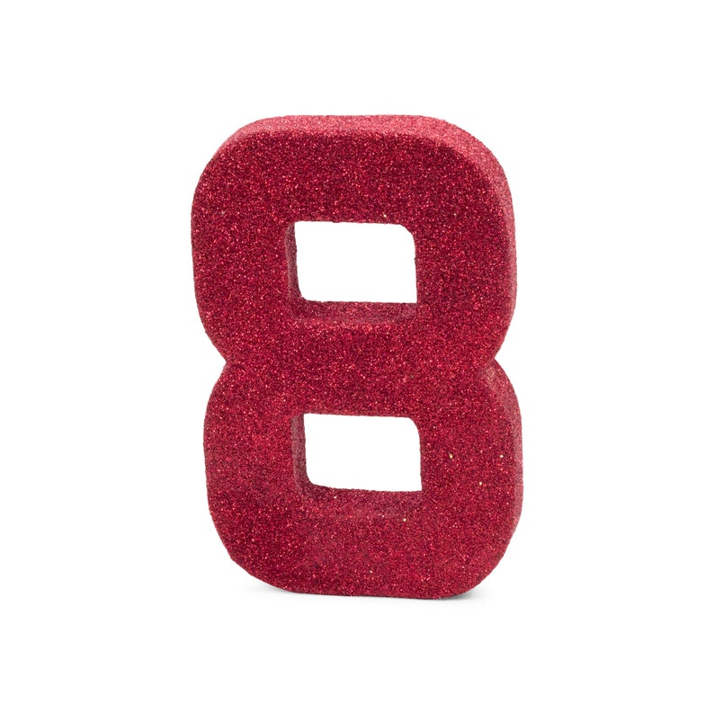 Giant Number 8 Red Smash Cake Prop Table Deco