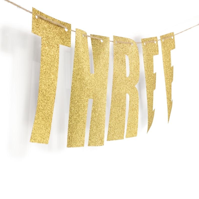 Three  Banner XL Photoshoot Prop Large Three Decor 3rd Anniversary Giant 3 Banner Third Birthday Gold Backdrop Year