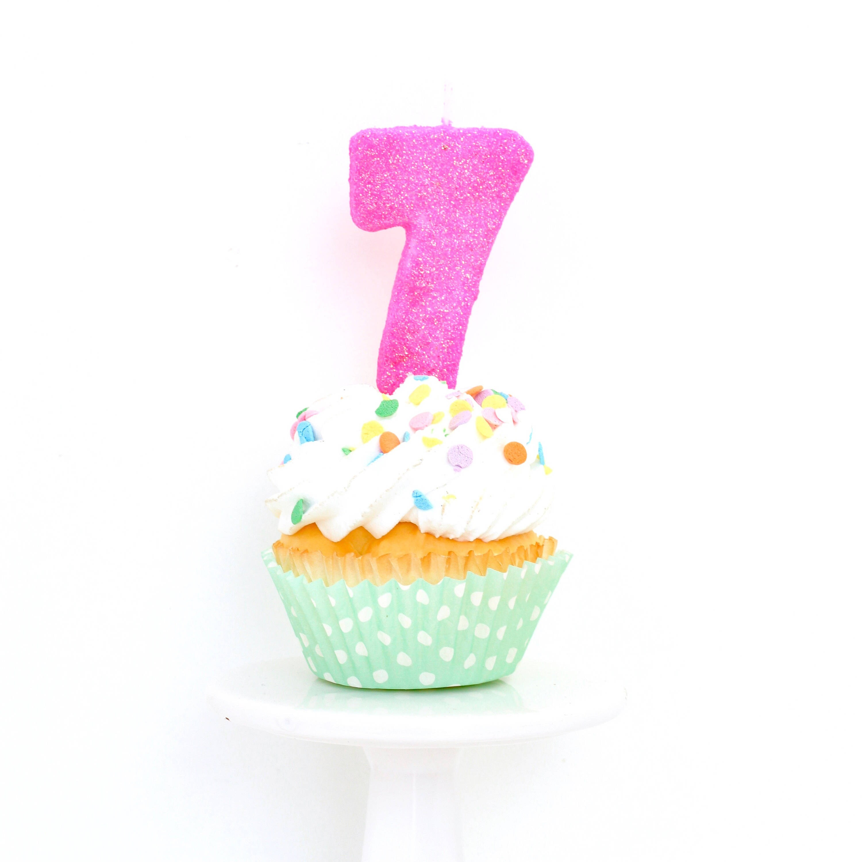 3 Number 7 Candle Hot Pink Seven Cake Topper