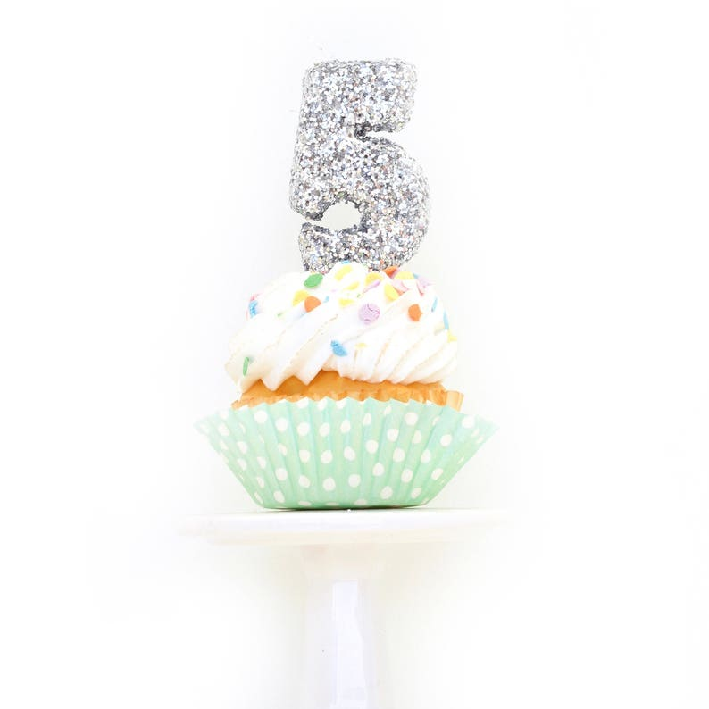3 Number 5 Candle Silver Five Cake Topper Birthday