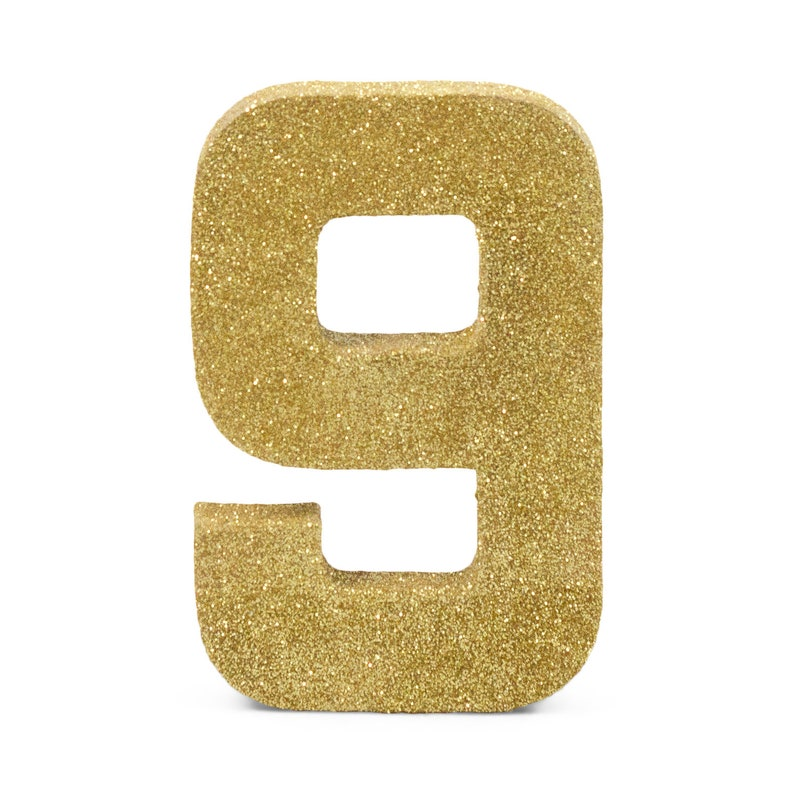 Giant Number 9 Gold Fine 8 Smash Cake Prop Table
