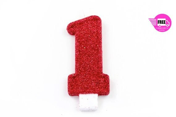 5 Number 1 Candle Giant Red Party Large