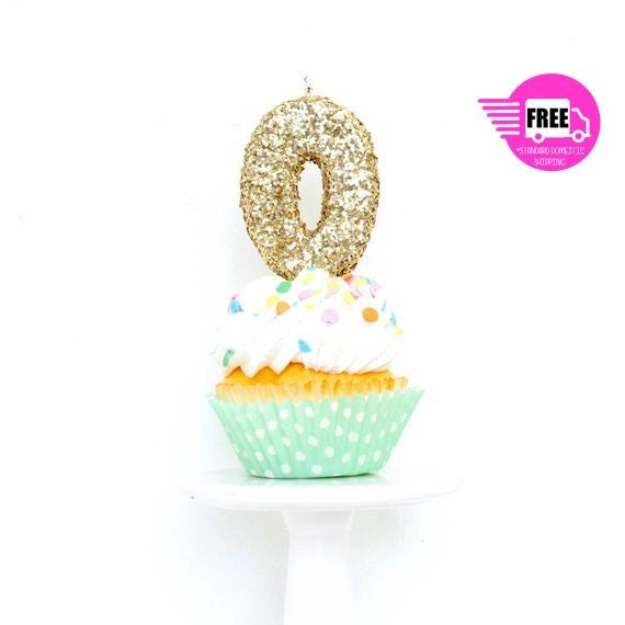 3 Number 0 Candle Giant Gold Glitter Large