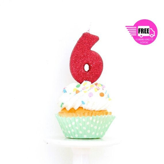 SHIPS FREE 3 Number 6 Candle Red Six Cake Topper