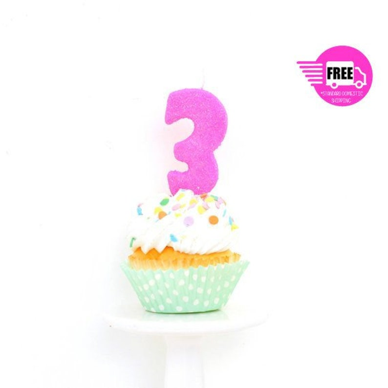 SHIPS FREE 3 Number Candle
