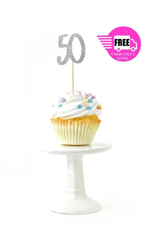 SHIPS FREE Number 50 Toothpick Toppers Silver