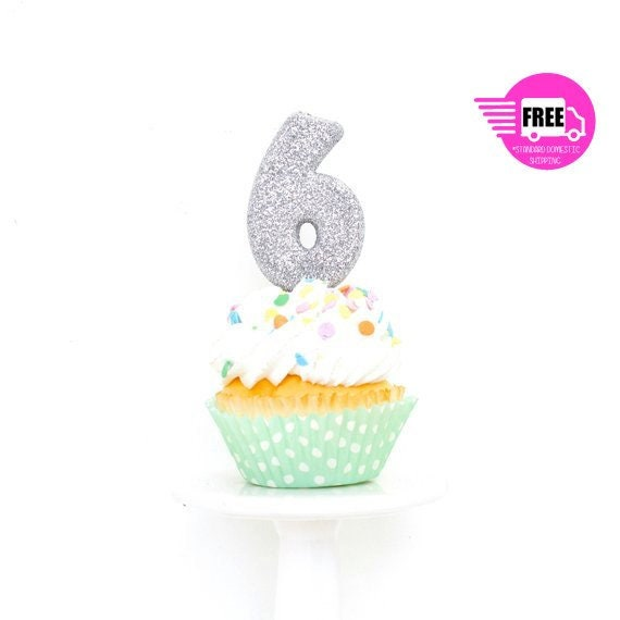 Silver Glitter Number 6 Six 6th Happy Birthday Cake Candle