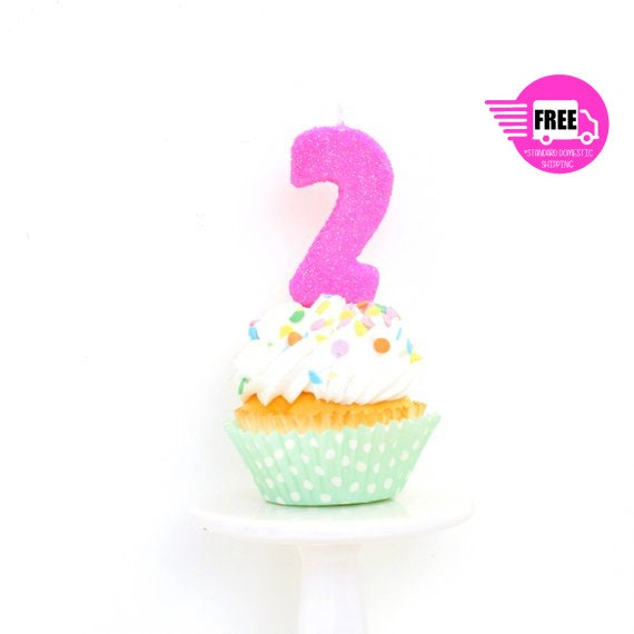 SHIPS FREE 3 Number 2 Candle Hot Pink Two Cake