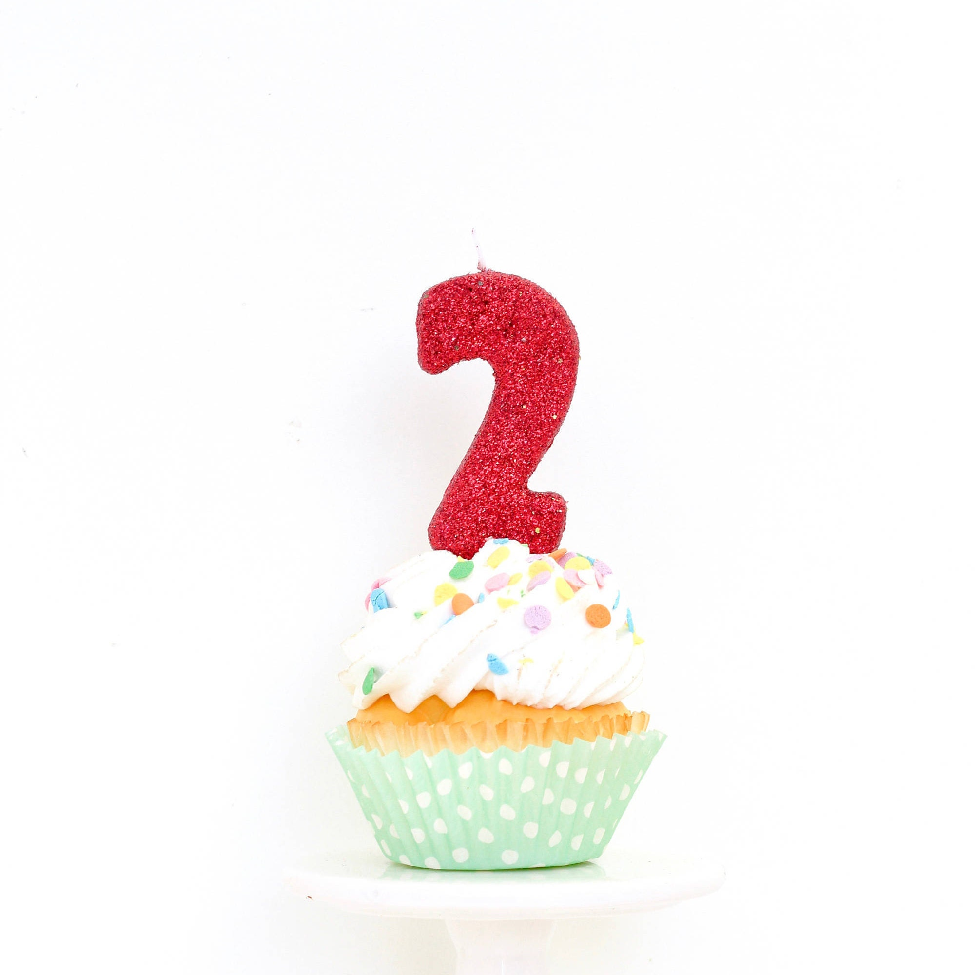 3 Number 2 Candle Red Two Cake Topper Birthday