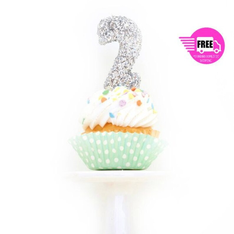 SHIPS FREE 3 Number 2 Candle Silver Two Cake