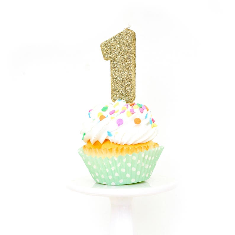 3 Number 1 Candle Gold One Cake Topper First