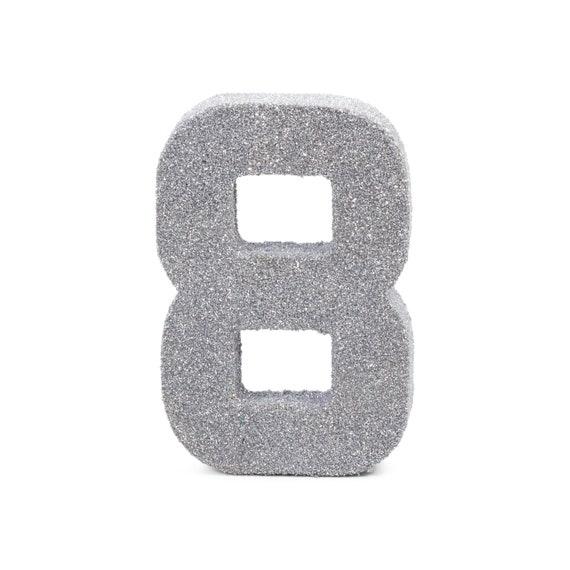 8 Silver Fine Glitter Number 6 Prop