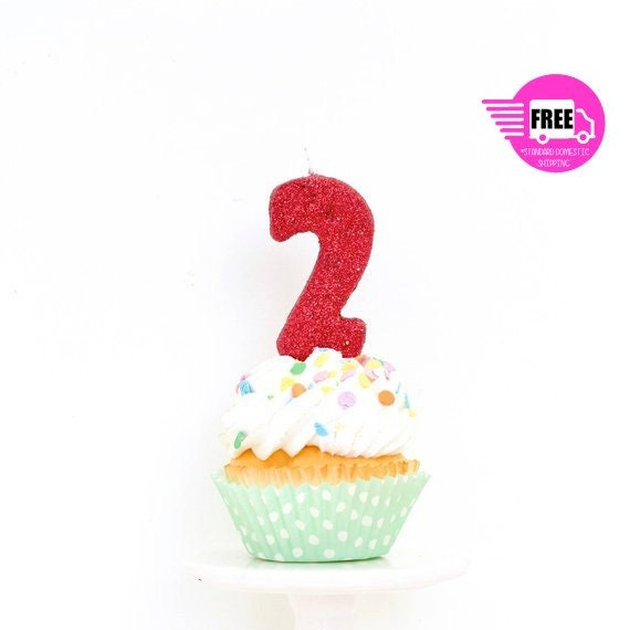 SHIPS FREE 3 Number 2 Candle Red Two Cake Topper