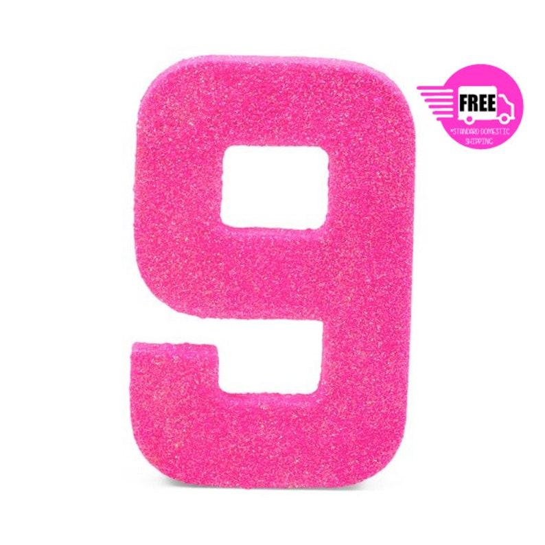 SHIPS FREE Giant Number 9 Hot Pink 8 Smash Cake