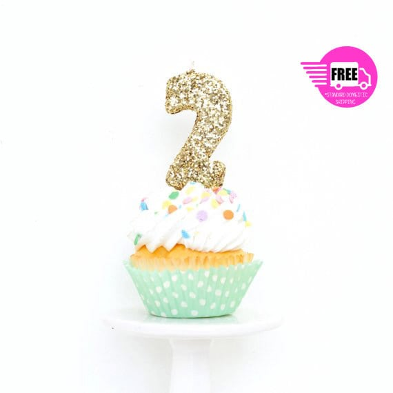 3 Number 2 Candle Giant Gold Party Decor