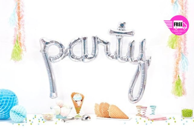 Giant PARTY Script Balloon Silver Hologram Party Prop Birthday Banner
