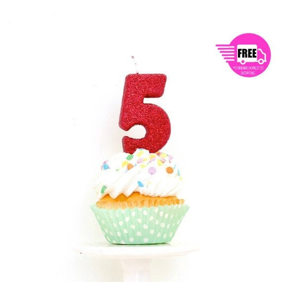 SHIPS FREE 3 Number 5 Candle Red Five Cake Topper