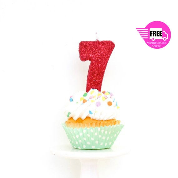 SHIPS FREE 3 Number 7 Candle Red Seven Cake