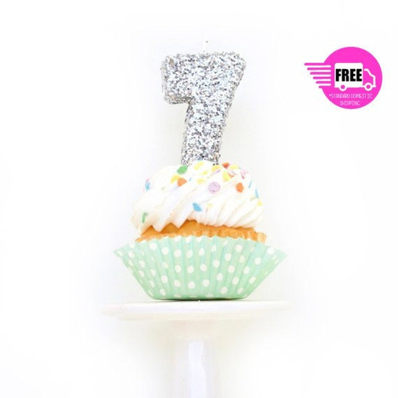 Seven 7th Seventh Birthday CANDLE Diamante Frozen Party FREE POSTAGE Uk Item