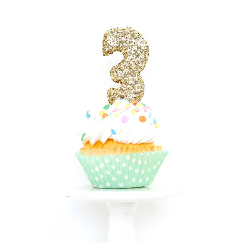 3 Number 3 Candle Gold Three Cake Topper Birthday Third 3rd Anniversary Gold Sparkle Cake Topper Glitter Cupcake