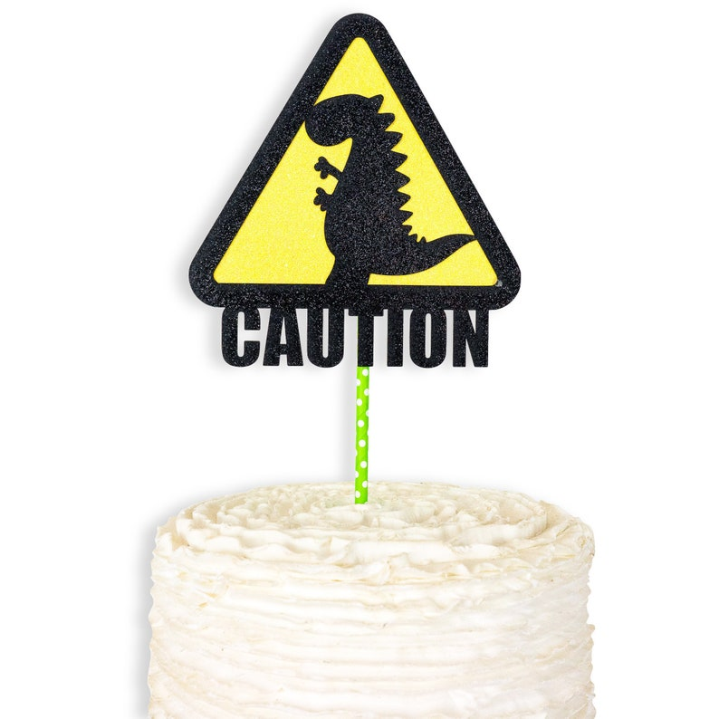 Dinosaur Theme First Birthday Party Decor Caution 1st Food Decor Dinosaur Cake Topper Black Yellow Green Cake Decoration
